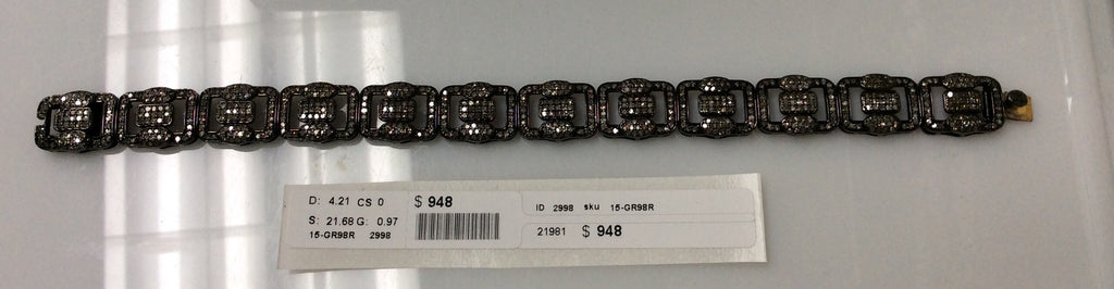Diamond and Silver Black Rhodium Finish Bracelets .