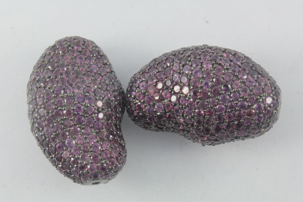Nugget Shape Pave Beads with Diamond And Gemstone