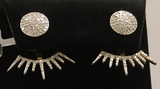 "14k Solid Gold Sun Diamond Earrings . Genuine handmade pave diamond Earrings . Approx Size 1.00 ""(25 mm)"