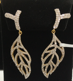 "14k Solid Gold Leaf Diamond Earrings. Genuine handmade pave diamond Earrings. Approx Size 2.20 ""(55 x 18 mm)"
