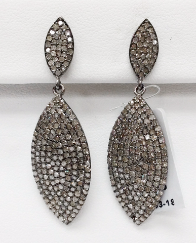 "Marquise Diamond Earring .925 Oxidized Sterling Silver Diamond Earring, Genuine handmade pave diamond Earring Size 1.80""(14 x 45 MM )"