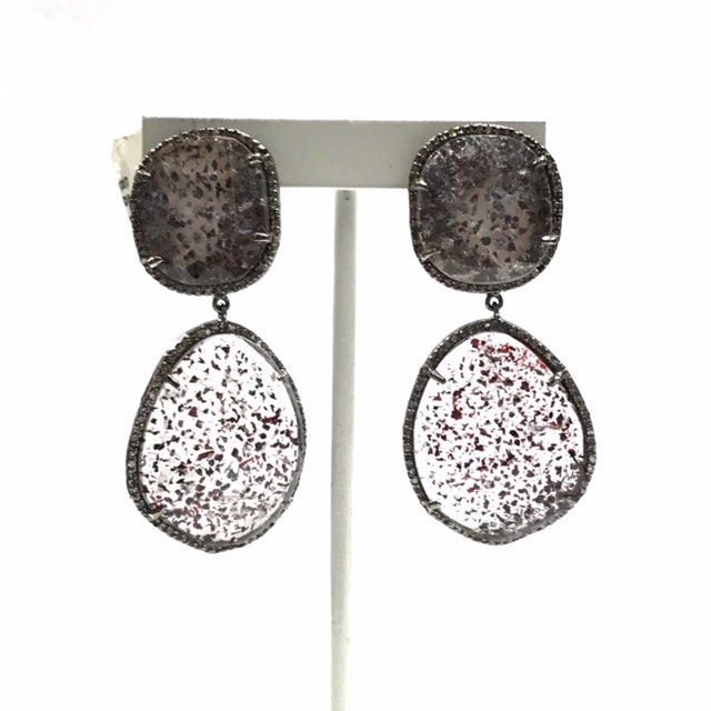 Doted Quartz Flat Rosecut and Diamond earring