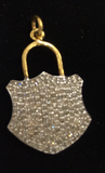 "14K Solid Gold Lock Shape Diamond Pendants. pave diamond Pendant. Approx Size 1.08 ""(16 x 27 mm)"