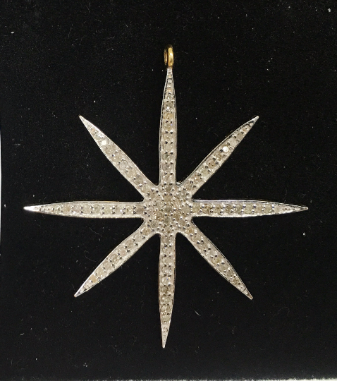 "14k Solid Gold Star Diamond Pendants.  Approx Size 1.72 ""(43 x 40 mm)"