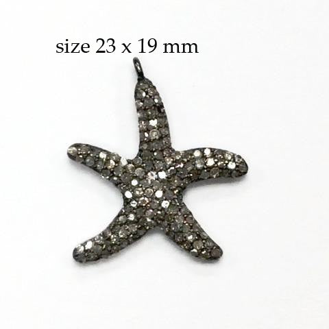 "Star Fish Diamond Charm .925 Oxidized Sterling Silver Diamond Charms, Genuine handmade pave diamond Charm Size Approx 0.92""(23 x 19 MM)"