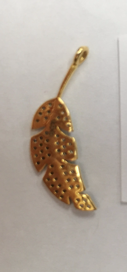 "14k Solid Gold Leaf Shape Diamond Pendants. Genuine handmade pave diamond Pendant. Approx Size 0.92""(7 x 23 mm)"