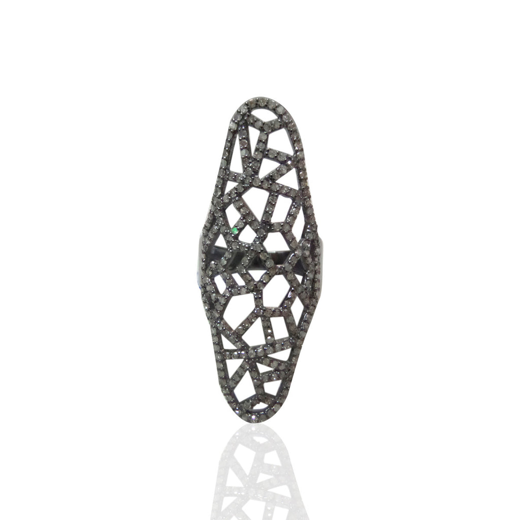 "Pave Diamond Ring .925 Oxidized Sterling Silver Diamond Ring, Genuine handmade pave diamond Ring Size Approx 1.52""(20 x 38 mm)"