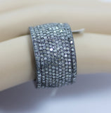 "Pave Cigar Band Diamond Ring .925 Oxidized Sterling Silver Diamond Ring, Genuine handmade pave diamond Ring Size Approx 0.96""(13 x 24 MM)"