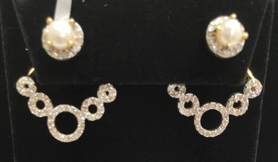 "14k Solid Gold Diamond Earrings. Genuine handmade pave diamond Earrings. Approx Size 1.00 ""(25 x 20 mm)"