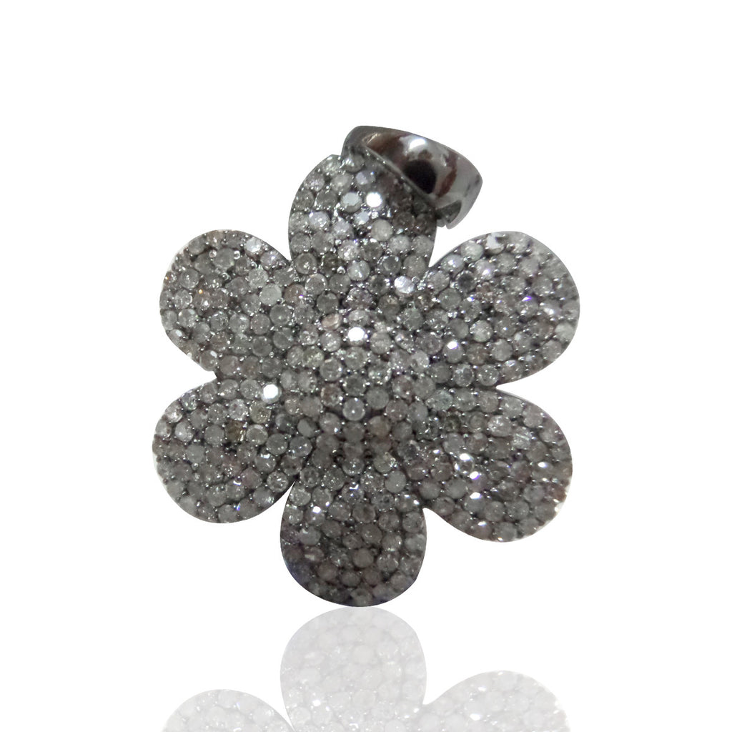 Flower Shape Diamond Pendants & Charms Approx 26 mm