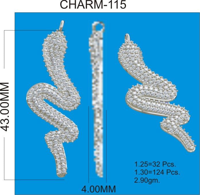 SNAKE SHAPE DIAMOND PENDANTS CHARMS