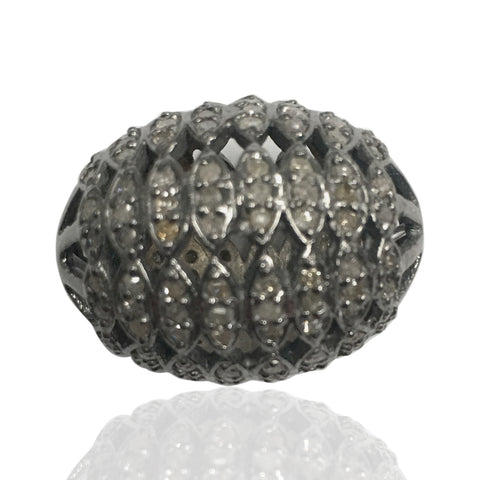 "Oval Diamond Bead .925 Oxidized Sterling Silver Diamond Beads, Genuine handmade pave diamond Beads Size Approx 0.80""(16 x 20 MM)"