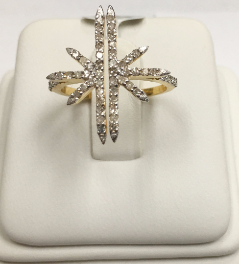 "14k Solid Gold Star Diamond Rings. Genuine handmade pave diamond Rings. Approx Size 0.80 ""(18 x 20 mm)"