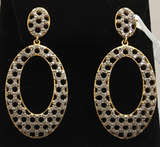 "14k Solid Gold Oval Diamond Earrings . Genuine handmade pave diamond Earrings . Approx Size 1.80 ""(22 x 45 mm)"