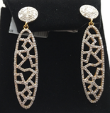 "14k Solid Gold Diamond Earrings . Genuine handmade pave diamond Earrings . Approx Size 2.00 ""(12 x 50 mm)"