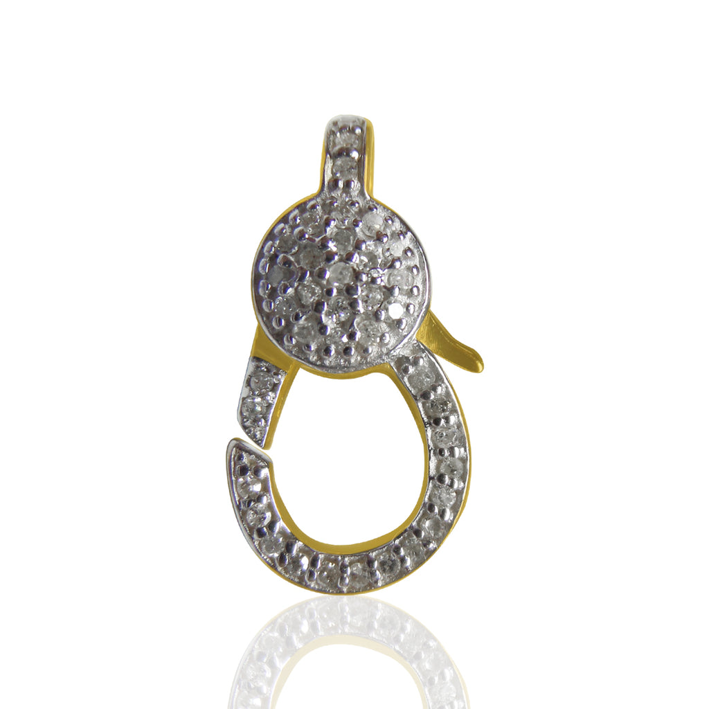 "14k Solid Gold  Diamond Clasps. Genuine handmade pave diamond Clasps. Approx Size 0.72 ""(10 x 18 mm)"