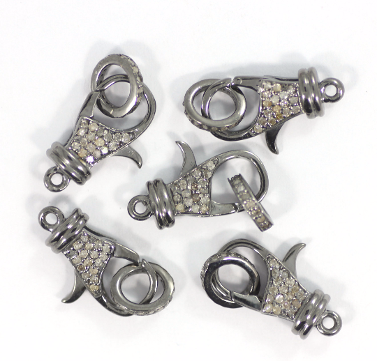 "Diamond Clasps .925 Oxidized Sterling Silver Diamond Clasps, Genuine handmade pave diamond Clasps Size Approx 0.76""(19 MM)"