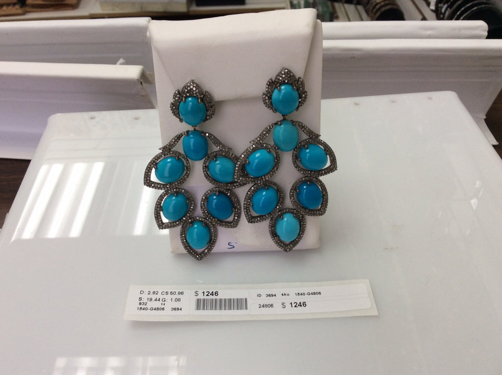 Diamond and Silver Turquoise Stone Black Rhodium Finish Earring.