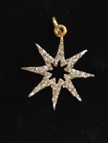 "14k Gold Star Diamond Pendants. Genuine handmade pave diamond Pendant. Approx Size 0.84 ""(18 x 21 mm)"