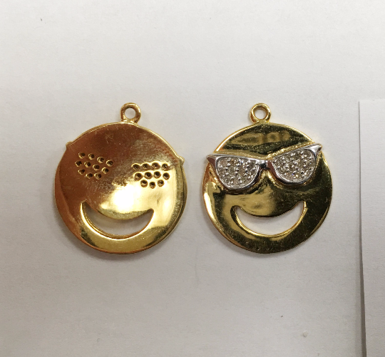 "14K Solid Gold Funny Face Diamond Pendants. Genuine handmade pave diamond Pendant. Approx Size 0.72 ""(18 mm)"