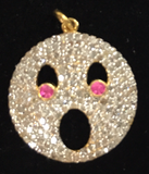 "14K Solid Gold Funny Face Diamond Pendants. Genuine handmade pave diamond Pendant. Approx Size 0.88 ""(22 mm)"