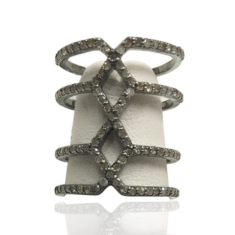 "Pave Diamond Ring .925 Oxidized Sterling Silver Diamond Ring, Genuine handmade pave diamond Ring Size Approx 0.88""(22 x 20 mm)"
