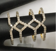 "14 k Gold Diamond Rings. Genuine handmade pave diamond Rings. Approx Size 0.88 ""(20 x 22 mm)"