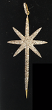 "14K Solid Gold Star Diamond Pendants. Genuine handmade pave diamond Pendant. Approx Size 2.60 ""(28 x 65 mm)"