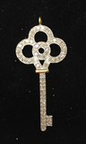 "14K Gold Diamond Key Shape Pendants. Genuine handmade pave diamond Pendant. Approx Size 1.44 ""(16 x 36 mm)"