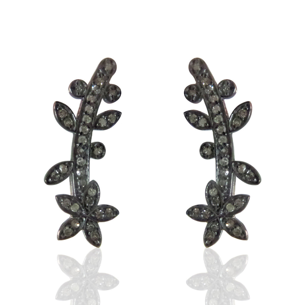 Diamond Silver Earring .925 Oxidized Sterling Silver Diamond Earring, Genuine handmade pave diamond Earring