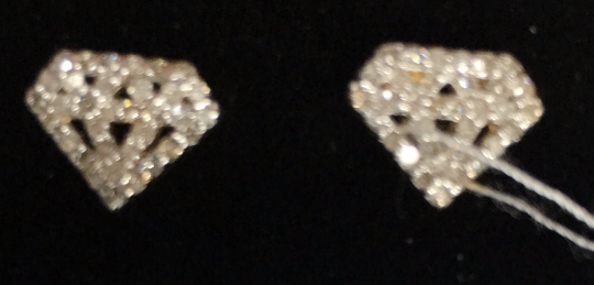 "14k Solid Gold Diamond Shape Diamond Earrings . Genuine handmade pave diamond Earrings . Approx Size 0.40 ""(8 x 10 mm)"