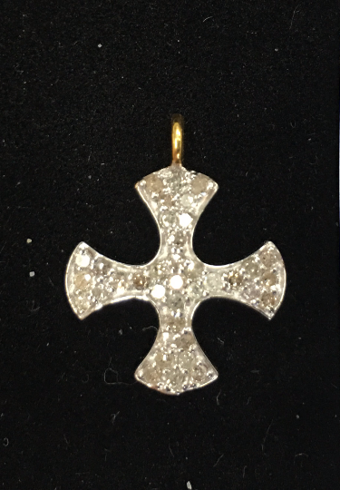 "14K Solid Gold Cross Diamond Pendants. Genuine handmade pave diamond Pendant. Approx Size 0.72 ""(15 x 18 mm)"