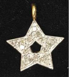 "14k Solid Gold Star Diamond Pendants. Pendant. Approx Size 0.60 ""(15 x 12 mm)"