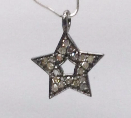 "Stars Diamond Charm .925 Oxidized Sterling Silver Diamond Charms, Genuine handmade pave diamond Charm Size Approx 0.52""(13 x 13 MM)"