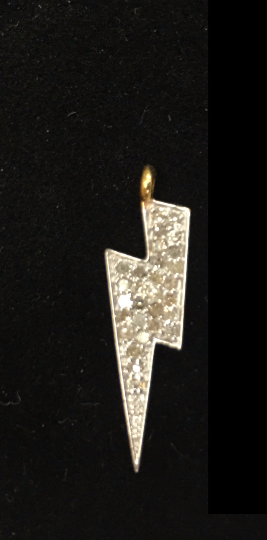 "14K Solid Gold Diamond Lightning Pendants. Genuine handmade pave diamond Pendant. Approx Size 1.00 ""(7 x 25 mm)"