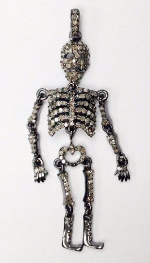 "Skeleton Diamond Charm .925 Oxidized Sterling Silver Diamond Charms, Genuine handmade pave diamond Charm Size Approx 2.32""(17 x 58 MM)"