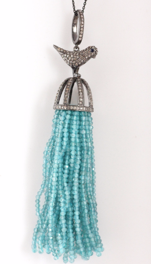 Bird Diamond And Apatite Tassel Necklace. 925 Oxidized Sterling Silver Diamond Tassel.