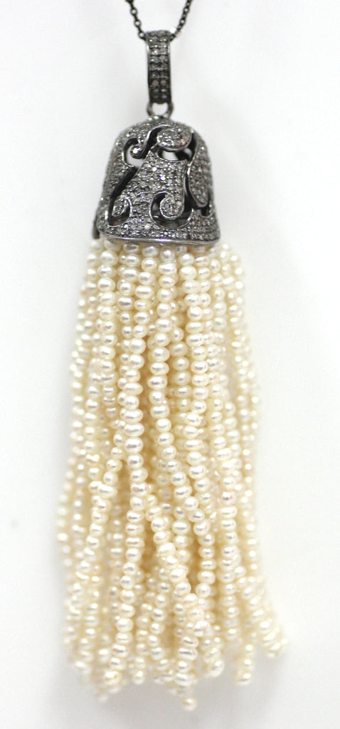Diamond And Pearl Tassel Necklace. 925 Oxidized Sterling Silver Diamond Tassel.