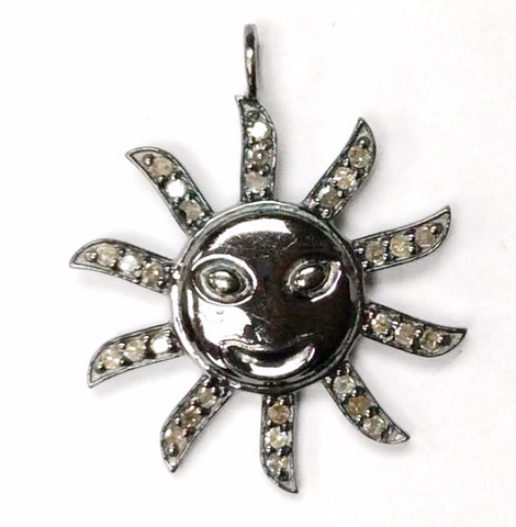 "Sun Burst Diamond Charm .925 Oxidized Sterling Silver Diamond Charm, Genuine handmade pave diamond Charm Size Approx 0.88""(22 MM)"