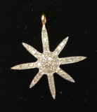 "14k Solid Gold Star Diamond Pendants.  Approx Size 1.12 ""(24 x 28 mm)"