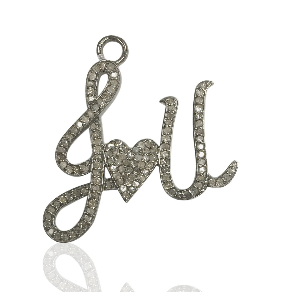 "Love Diamond Charms .925 Oxidized Sterling Silver Diamond Charms, Genuine handmade pave diamond Charm Size Approx 1.12""(28 x 28 mm MM)"