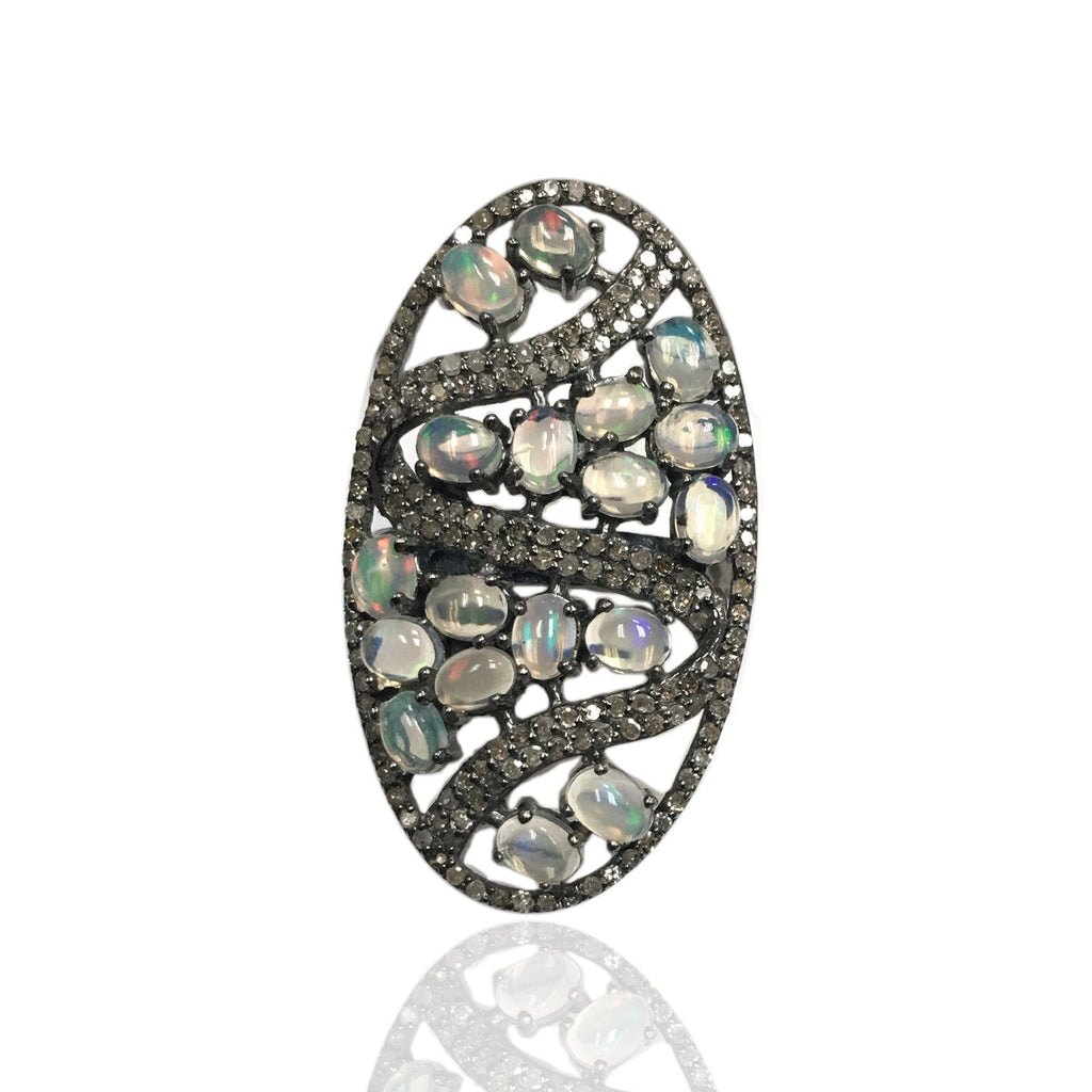 Oval Designer Diamond And Ethopian Opal Ring,Pave Diamond Ring,Diamond Ring,Pave Ring, Statement Ring, Oxidised Silver
