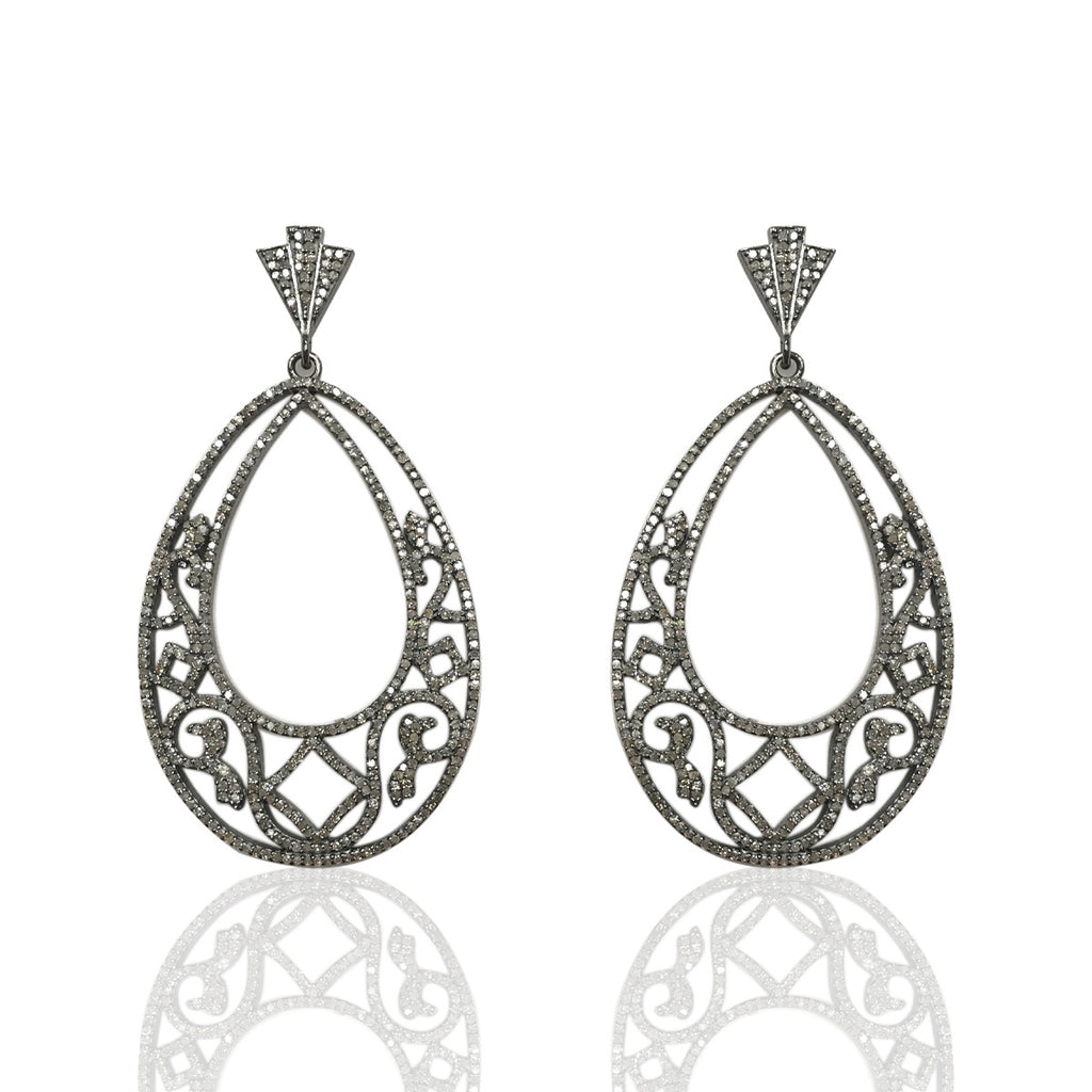"Diamond Silver Earring .925 Oxidized Sterling Silver Diamond Earring, Genuine handmade pave diamond Earring Size 2.60""(35 x 65 MM )"
