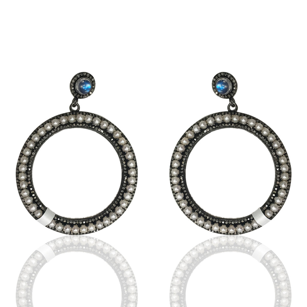 "Round Diamond Silver Earring .925 Oxidized Sterling Silver Diamond Earring, Genuine handmade pave diamond Earring Size 1.60""(40 MM )"