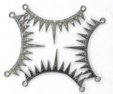 "Pave Diamond Art Deco Necklace ,  Diamond design in sterling silver w/antique finish, Approx 0.55"" Stunning"