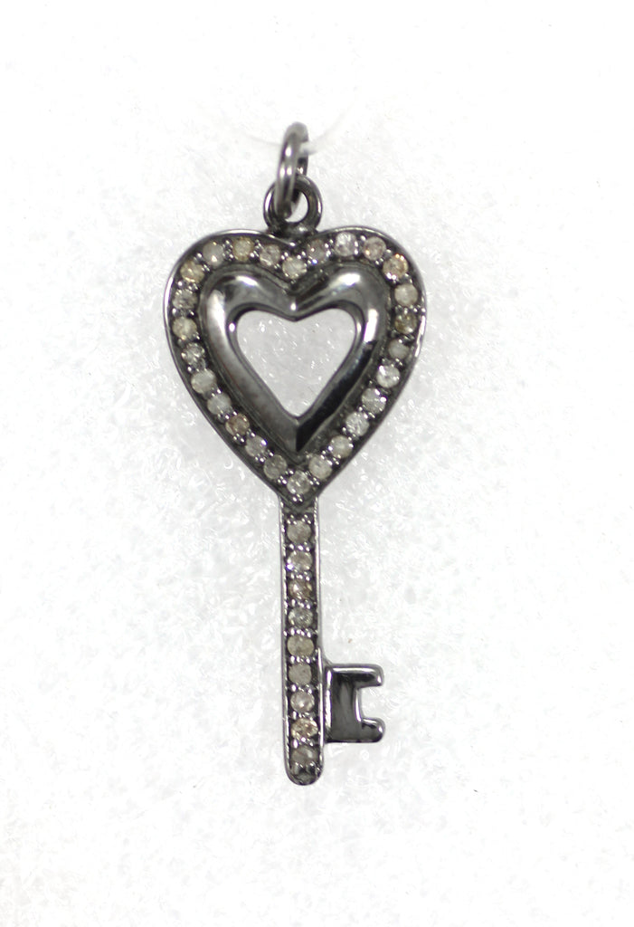 "Key Diamond Pendants .925 Oxidized Sterling Silver Diamond Pendants, Genuine handmade pave diamond Pendant Size Approx 1.04""(13 x 26 MM)"