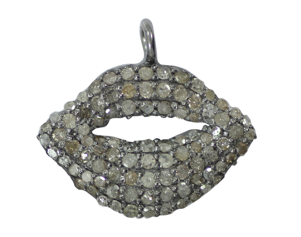 "Lips Diamond Charm .925 Oxidized Sterling Silver Diamond Charms, Genuine handmade pave diamond Charm Size Approx 0.68""(12 x 17 MM)"