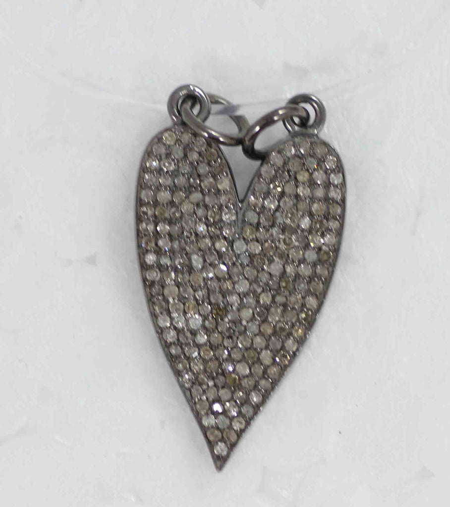 Heart Shape Pave Diamond Pendants .925 Oxidized Sterling Silver Diamond Pendants, Genuine handmade pave diamond Pendants Size 24 x 15 mm