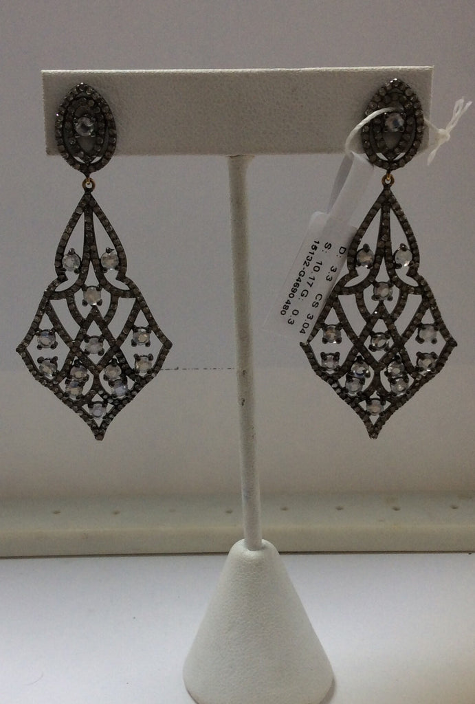 Diamond and Silver White Rainbow Moon Stone Black Rhodium Finish Earrings