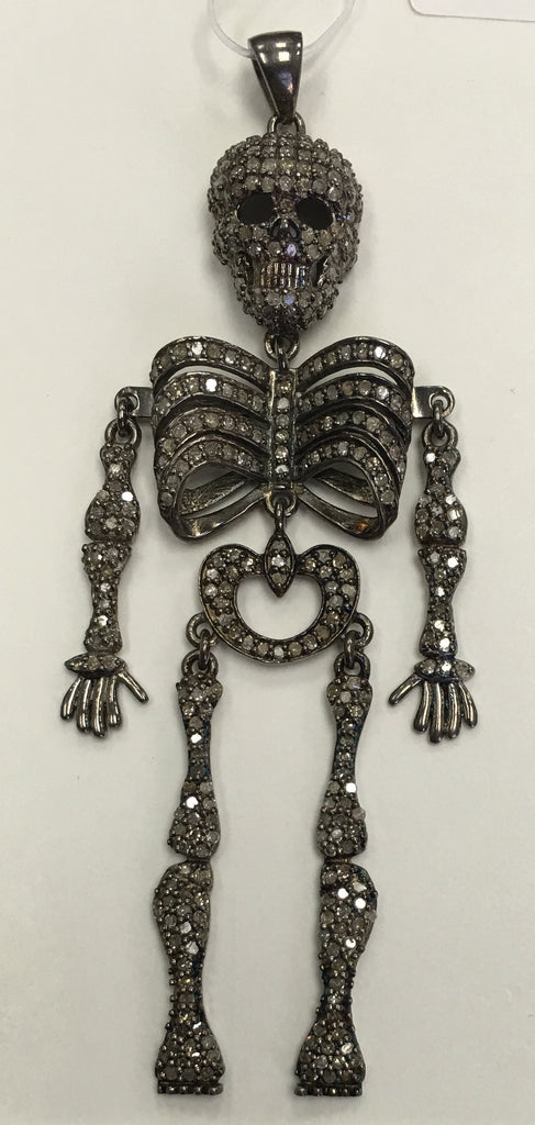 Skeleton Diamond Silver Pendant